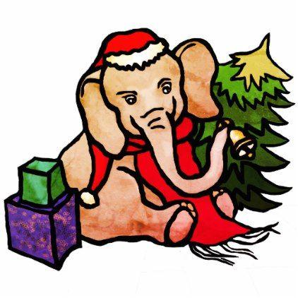 Retro Christmas Santa Cartoon Elephant Cutout - retro gifts style cyo diy special idea