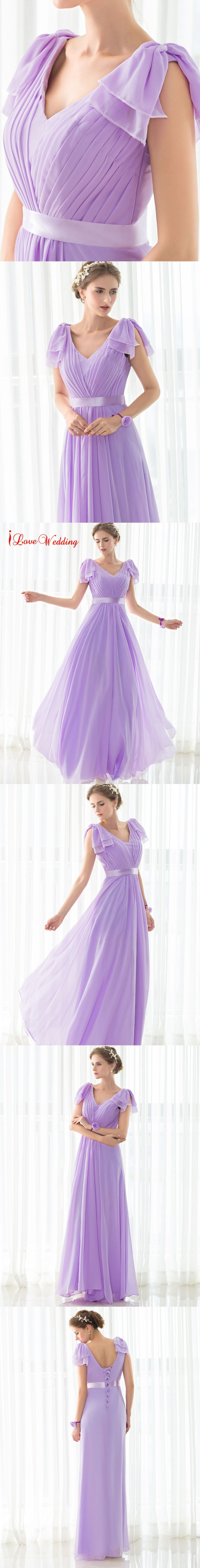 2017 Hot Sale Long Purple Bridesmaid Dresses Chiffon Pleat Sleeveless Deep V-neck Bandage Bridal Party Gowns Cheap Dresses
