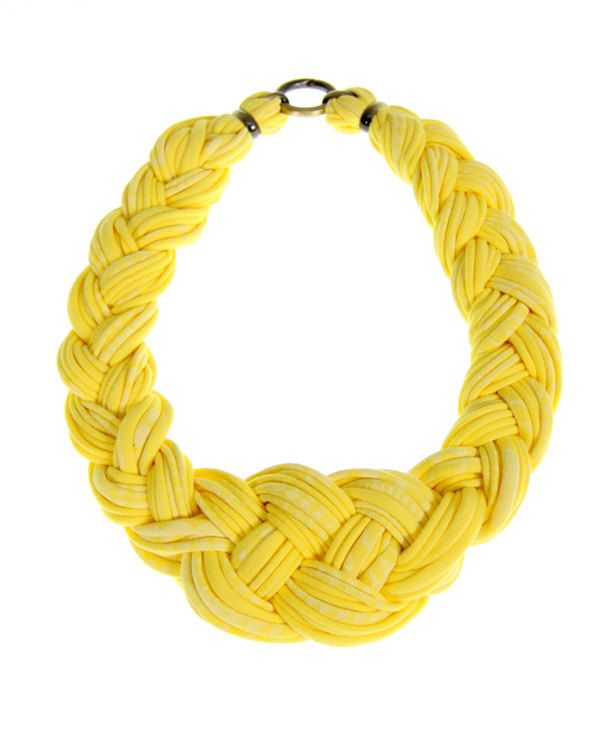 Jewelry Necklace Fabric Braided Braid Necklaces Jewellery Neckpiece African Tribal Textile Knot  Necklush Knotted  Yellow White. $48.00, via Etsy.