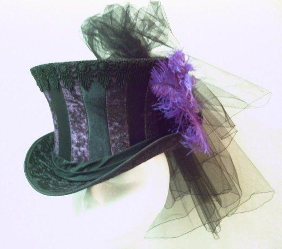 SALE  Salome Top Hat  Purple on Black by GypsyLadyHats on Etsy, $125.00