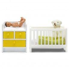 Accessoires maison de poupée : Ensemble nurserie