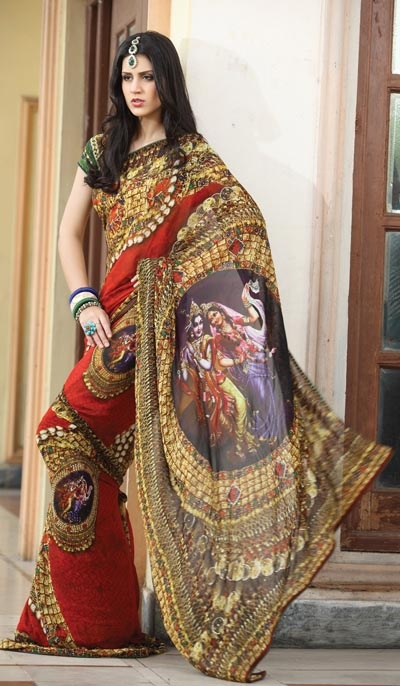 Love this Krishna Radharani sari! Perfect for a Ratha Yatra festival.