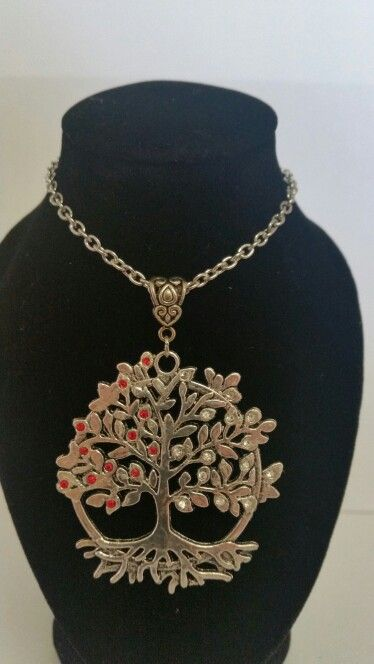 Tree of life pendant necklace. Half red half clear rhinestones. AUS $ 14.00