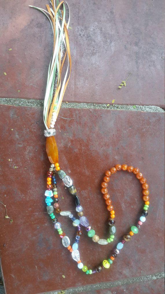 Stones necklace - tassel necklace - colar de pedras com tassel - boho - bohemian - gypsy - buriti seeds - agate - brazilian products