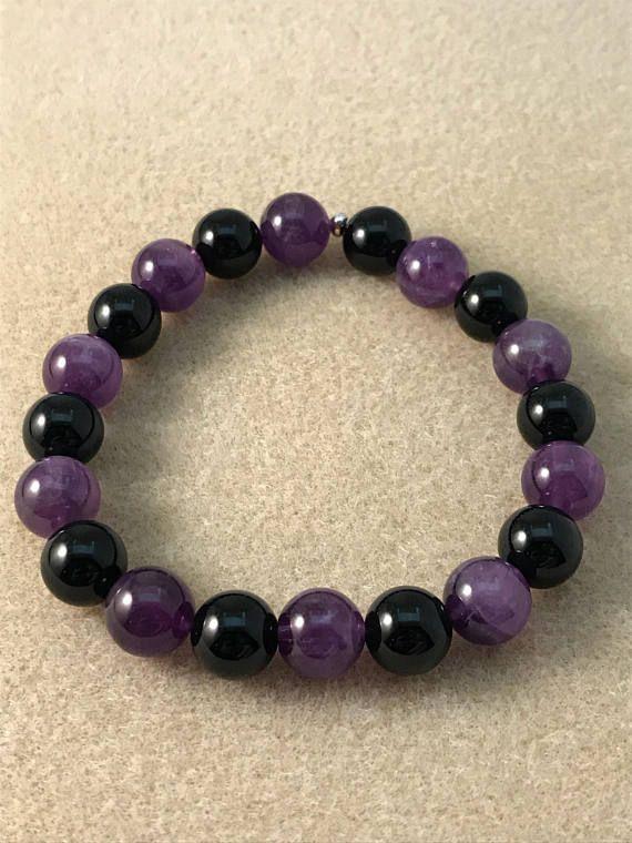 Anxiety Relief Amethyst Bracelet purple jewelry 10mm Genuine Amethyst Meditation bracelet Beaded Stretch Bracelet Third Eye bracelet