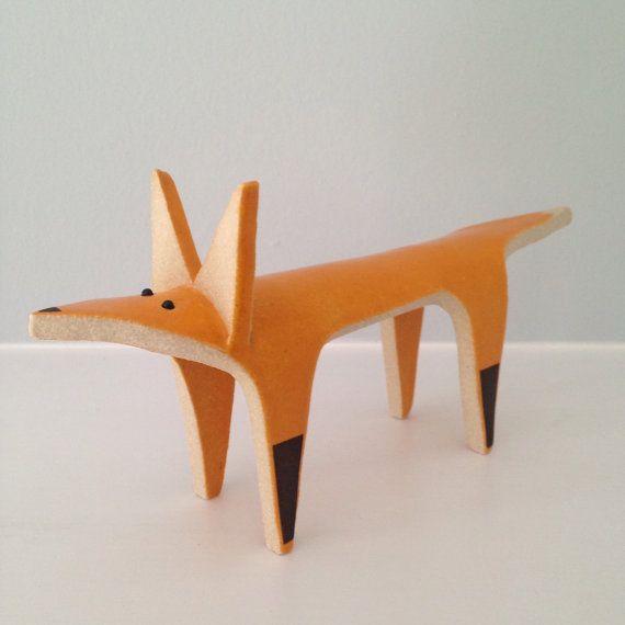 Orange fox ceramic ornament by HelenHodsonCeramics on Etsy