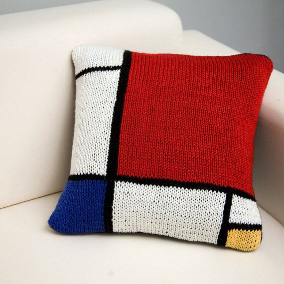 De Stijl  17x17 Modern Art Hand Knit Pillow  In by TheCreativeGene, $56.00