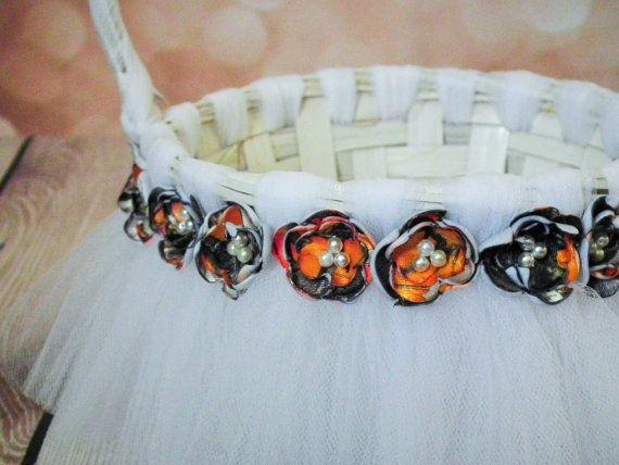 Camo tutu flower girl basket, blaze orange camo flowers on a white tulle basket, custom colors available