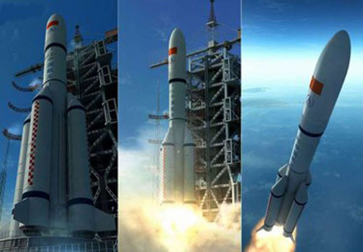 CHINA'S LONG MARCH 5 SPACE ROCKET STRETCHES ITS LEGS 8/21/15 - WITH ENVIRONMENTALLY FRIENDLY ENGINES Long March 5 CZ-5  liquid hydrogen and oxygen fuel produces water as exhaust.