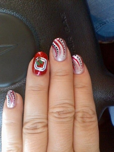 Ohio State Nails  Nail Art by @Carey Scott