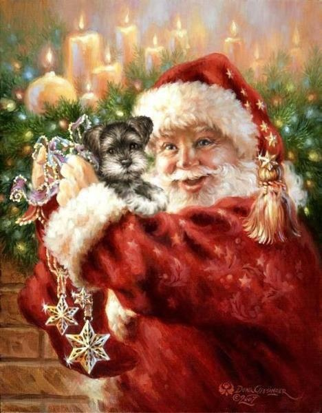 Santa bringing a Schnauzer puppy!!!  That would be a fabulous present!!  <3