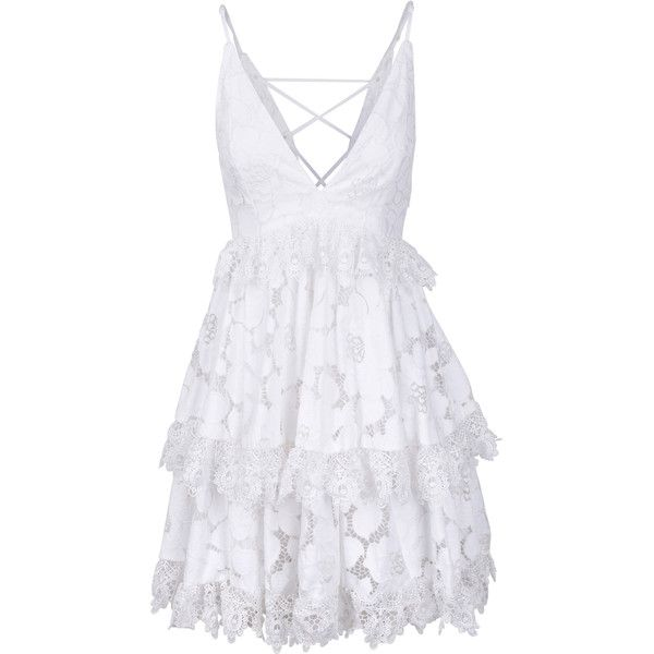 LACE BABYDOLL DRESS ($375) ❤ liked on Polyvore featuring dresses, babydoll dress, tiered dress, tie back dress, baby doll dress and lacy dress
