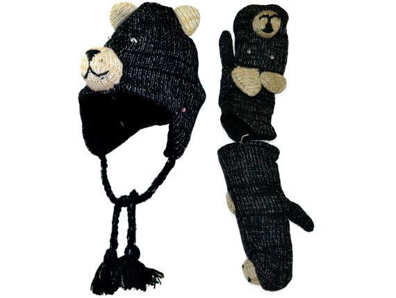 Black Bear animal knit hat with mittens set  by HatsMittensEtc