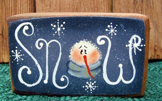Winter Snow Block Mantel or Shelf Decoration