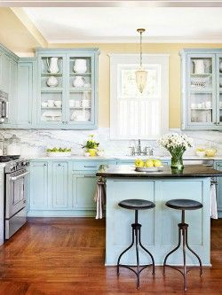Robin's egg blue kitchen cabinets