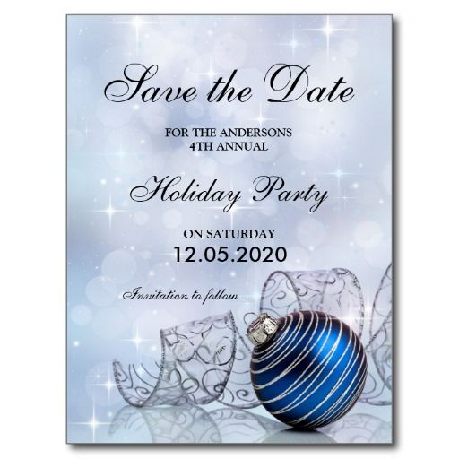 A Christmas and holiday party invitation save the date postcard #Christmas #ChristmasParty #HolidayParty #ChristmasInvitations #HolidayInvitations #Zazzle