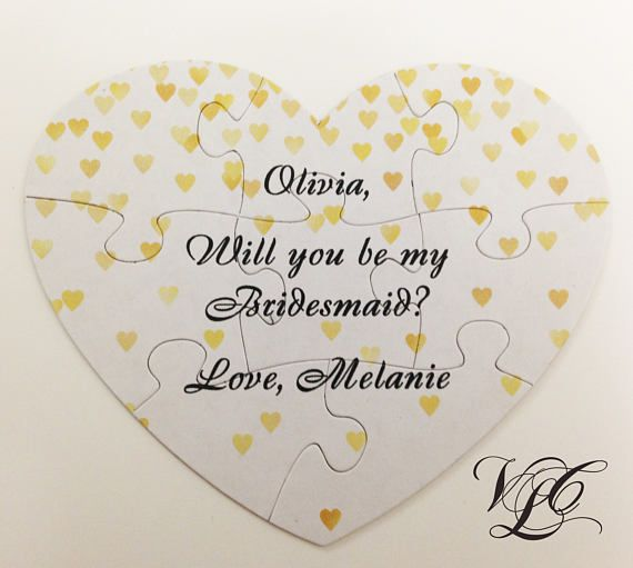 Bridesmaid proposal puzzle Ask Maid of Honour gift Matron of