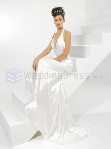 A-line Organdy Ruched Bodice Deep V-Neckline Sweep Train Wedding Dresses
