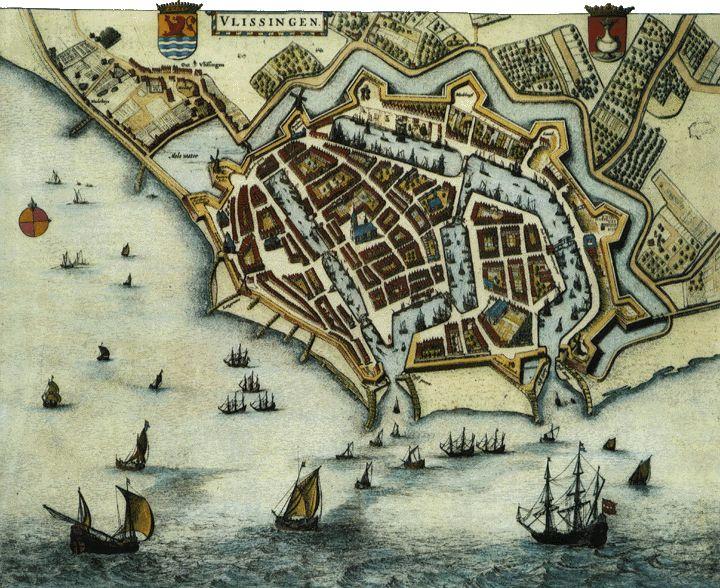 Plattegrond van Vlissingen (atlas Bleau 1649-1652)