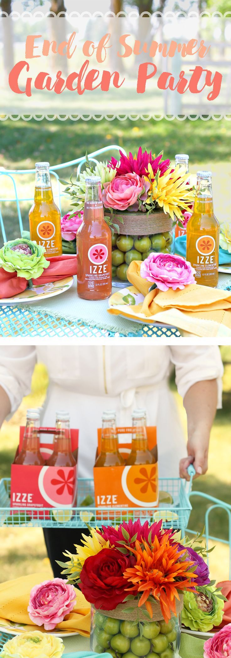 A colorful and simple end of summer garden party. Pretty tablescape perfect for a girls night in. #friendsdaynight #ad @izzeofficial