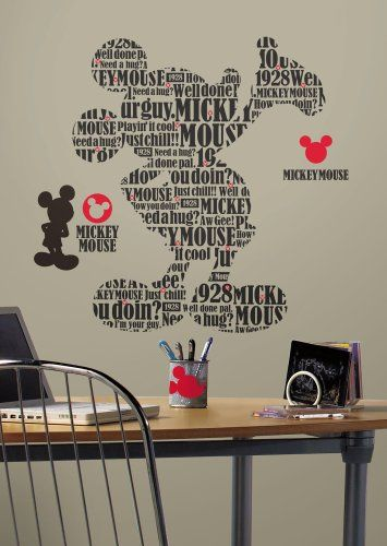 Roommates Rmk2073Gm Mickey And Friends Typography Mickey Mouse Peel And Stick Giant Wall Decals