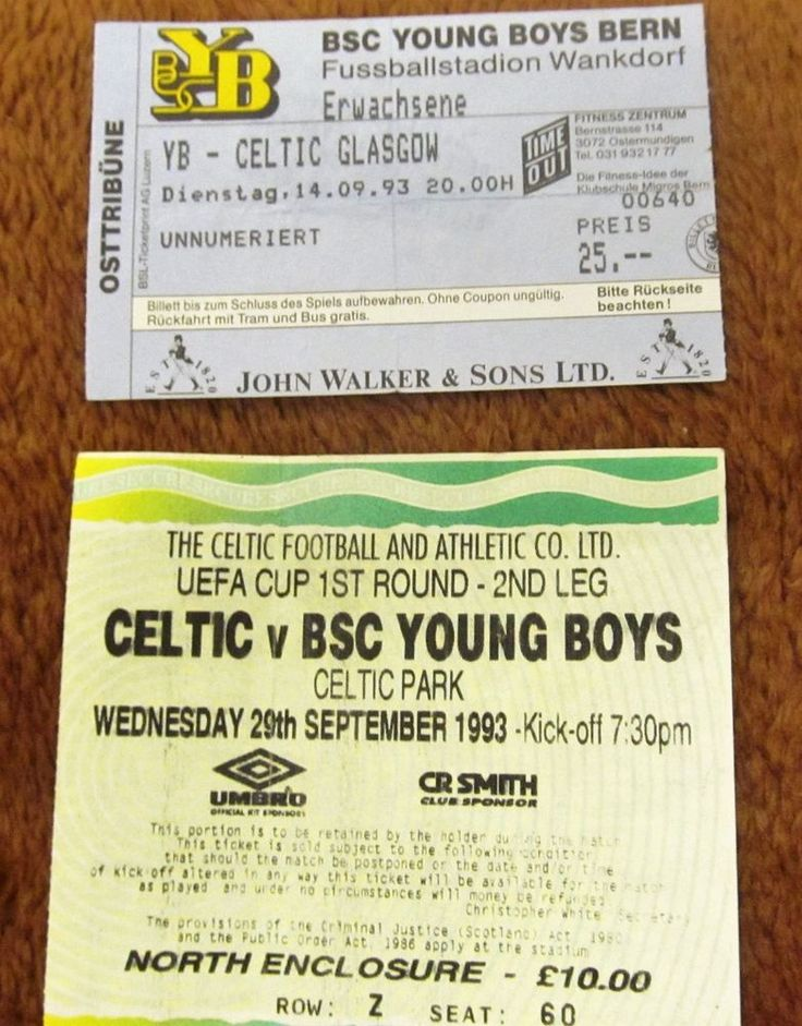 BSC YOUNG BOYS BERN  V  GLASGOW CELTIC FC  UEFA CUP 1993  HOME AND AWAY TICKETS. | eBay