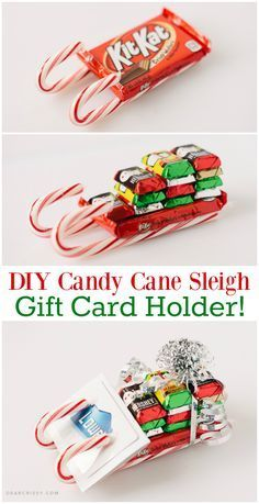 DIY Candy Cane Sleigh Gift Card Holder - This fun candy cane sleigh is so easy to make. Cute on its own or used as a unique gift card holder! #WrappedInStyle