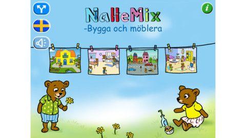 NalleMix 2 - Bygga och möblera    NalleMix 2 - Bygga och möblera är utvecklat enligt grundläggande svensk förskolepedagogik. Här kan barnen sysselsätta sig i timmar med att bygga upp sina egna bilder i fyra olika miljöer. Man kan dekorera hus och trädgård, bygga sin stad, möblera vardagsrum och möblera kök.    En app att öva lägesbeskrivningar med av.