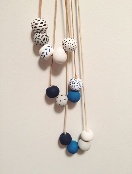 Materials colored clay suede cord or hemp a baking sheet a toothpick acrylic paint paintbrushes Directions 1.Roll the clay into balls and use a toothpick to create a hole (make the hole a bit bigger than you'd like since the … Continue reading →
