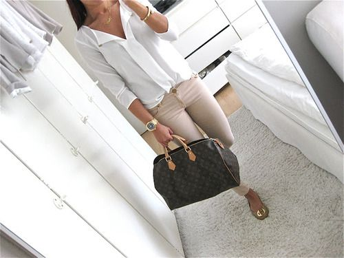 Louis Vuitton Monogram Canvas Speedy 40 and neutral outfit | tumblr