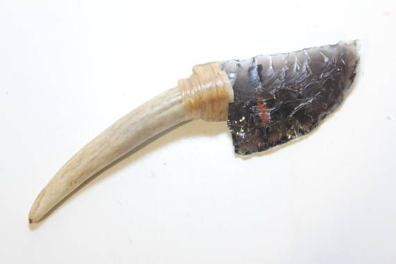 Triple Flow Obsidian Knife Blade Attached to Real Deer Antler