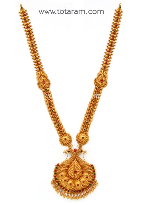 22K Gold '2 in 1' Peacock Long Necklace (Temple Jewellery)