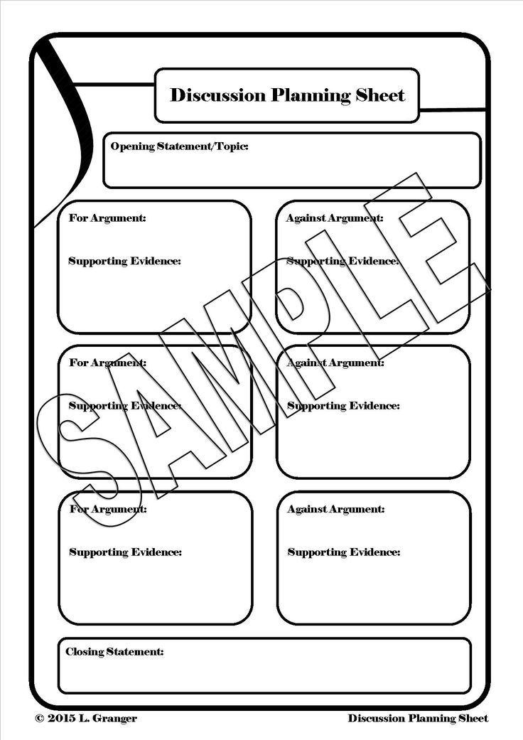 Discussion Planning Sheet is a great worksheet that teachers can use to guide their students through the process of planning a discussion.  http://designedbyteachers.com.au/marketplace/discussion-planning-sheet-portrait/