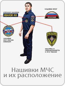 Форма сотрудника МЧС, слева на уровне груди указывается фамилия и инициалы сотрудника.