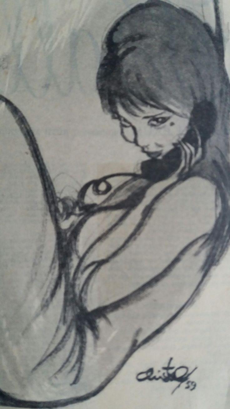 Christel tegning 1959 Ugeblad