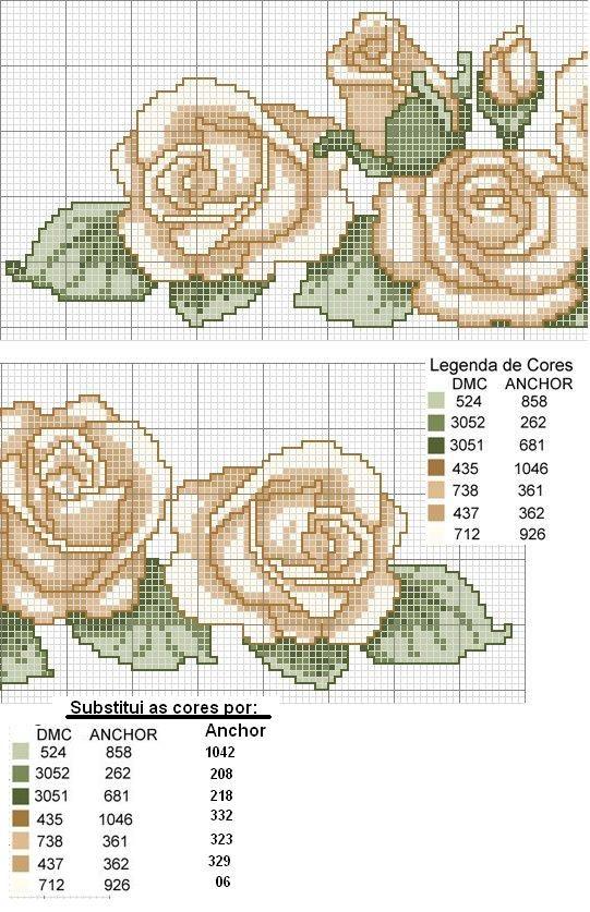 Lindos gráficos de flores de ponto cruz!   Artesanato & Humor de Mulher