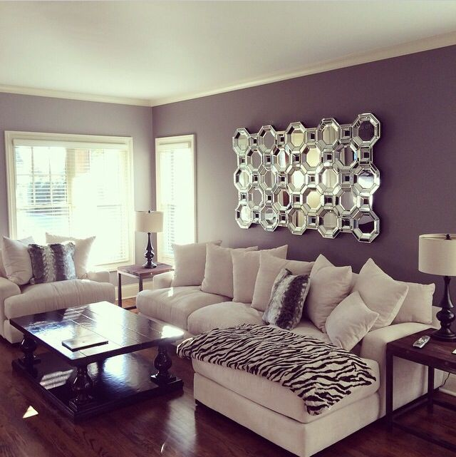 Glamorous decor, dark grey walls with a statement z gallerie mirror