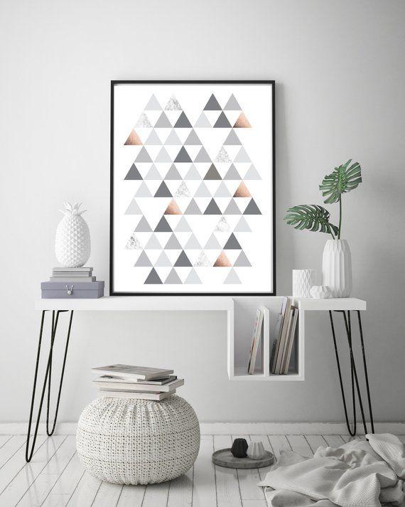 Items Similar To Geometric Printable Art Print Grey Wall Poster Home Decor Scandinavian Print Grey Copper Art Triangles Print Diy Gift Print Avenue On Et Printable Art Prints Geometric Art Printable