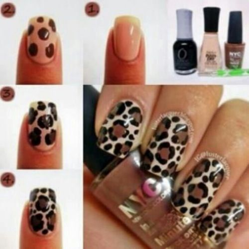 Tan, Brown, Black, Leopard Print nails, Traditional ...