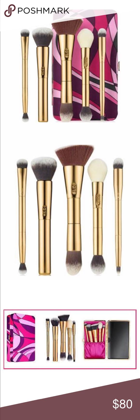 Tarte brush set! 5 brushes, 4 are double ended. Great value set. Sold out everywhere. Comes with case, which can be a customizable palette. All brand new in box. tarte Makeup Brushes & Tools