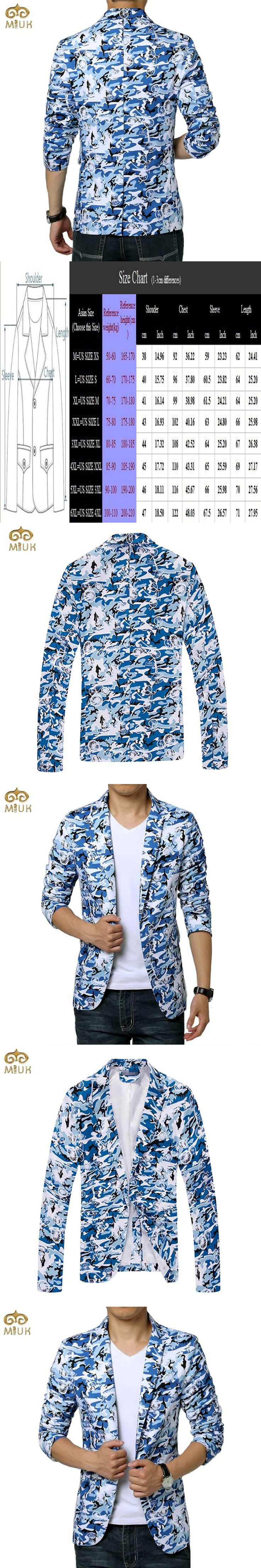 MIUK Super Large Size 95%Cotton Blazer Men Brand-clothing 6XL 5XL Blue Camouflage Men Blazer Slim Fit Blazer Masculino 2017 New