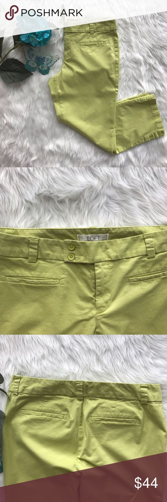 LOFT Marisa Cropped Chinos Great condition. Light signs of wear on the buttons. Size: 6. Color: Lime Green. Features: cropped, belt loops, buttons on bottom of leg, front slash pockets, back welt pockets. Closure: 1 jigger button, 2 front buttons, front zipper. Note: 2 small stains on the back of the right leg (pic #4). LOFT Pants Capris
