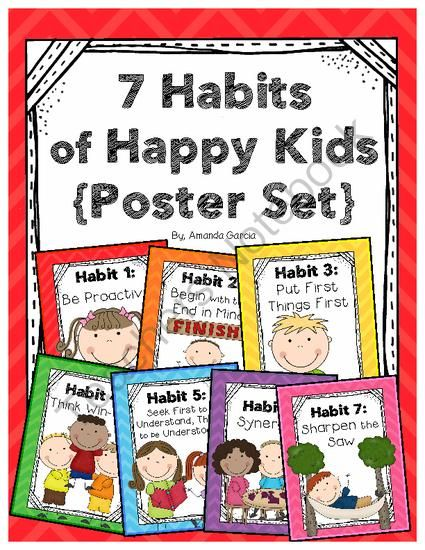 Leader In Me: 7 Habits Posters Happy Kids from Sweet and Neat Printables on TeachersNotebook.com -  (12 pages)  - These 7 Habits posters are perfect for schools working with Stephen Covey's The Leader In Me program!
