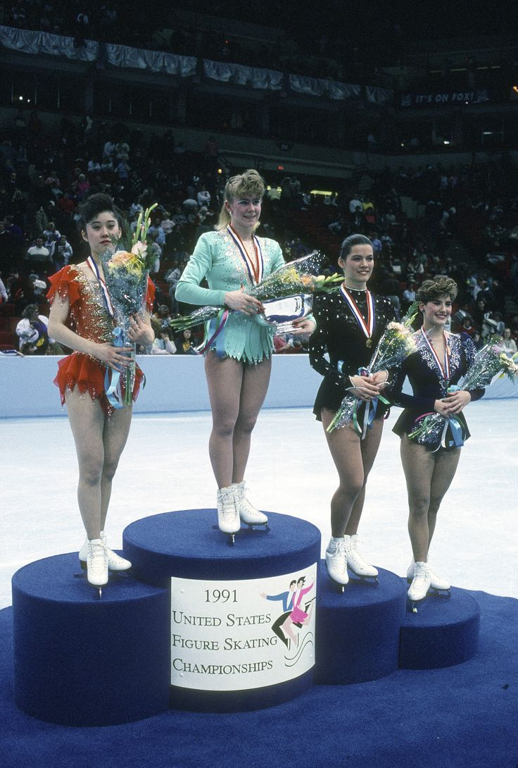 MINNEAPOLIS, MN - CIRCA 1991: Figure Skaters (L-R) Kristi Yamaguchi, Tonya Harding, Nancy Kerrigan and Tonia Kwiatkowski poses of this photograph at the U.S. Figure Skating Championships circa 1991 at the Target Center in Minneapolis, Minnesota. (Photo by Focus on Sport/Getty Images) via @AOL_Lifestyle Read more: https://www.aol.com/article/entertainment/2017/03/23/kristi-yamaguchi-nancy-kerrigan-tweet/22008755/?a_dgi=aolshare_pinterest#fullscreen