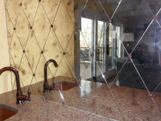 Cafe Antique Mirror Glass Harlequin Wet Bar Back Splash