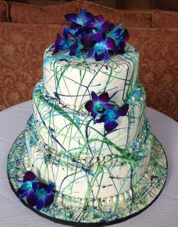 Wedding Cake 'splattered' with color, would work great for the Neon or Rainbow wedding.
