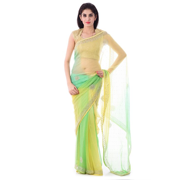 Multi Colour Chiffion Cut-Dana and Stone Work Saree With Blouse Piece