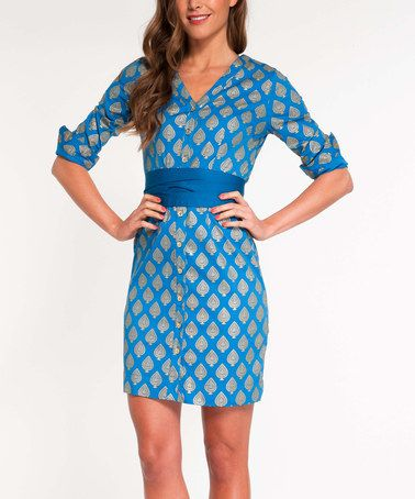 Look what I found on #zulily! Blue Tribal Shirt Dress by Almatrichi #zulilyfinds