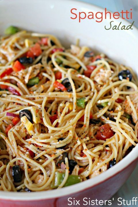 Though an unexpected choice, spaghetti noodles are a delicious alternative to noodles in this yummy salad.  Get the recipe at Six Sisters' Stuff. RELATED: Delicious Summer Picnic Recipes to Try