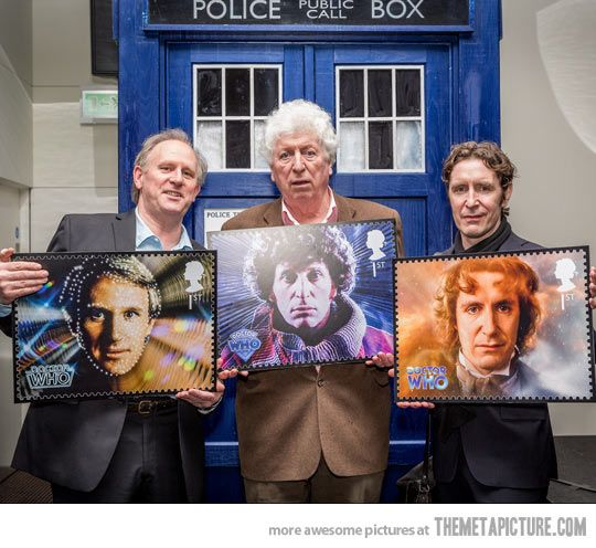 Doctor Who legends with their stamps for the 50th anniversary